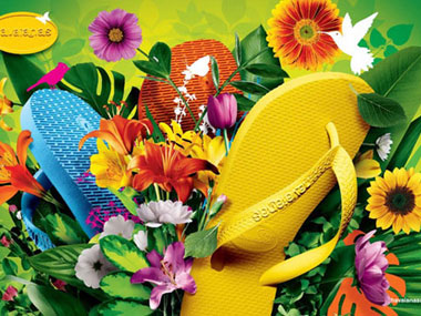 Havaianas yellow blue flower
